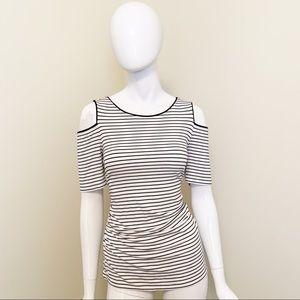 EUC - WHBM - B&W Striped Cold Shoulder Blouse - L
